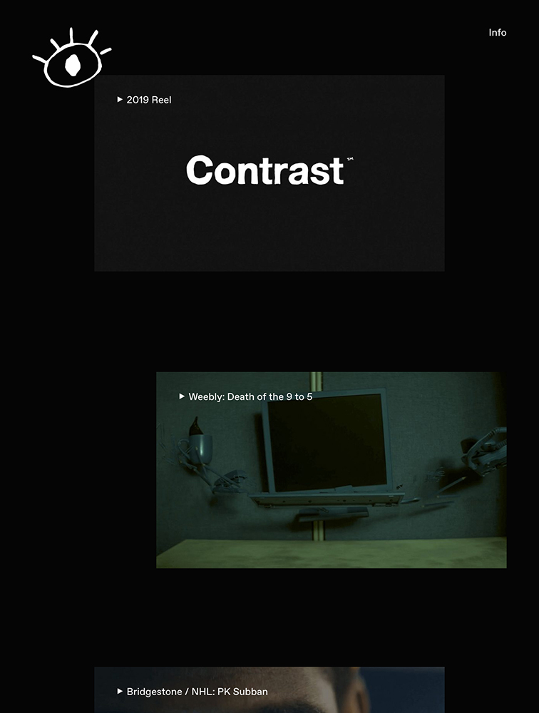 Contrast Visuals Landing Page Example