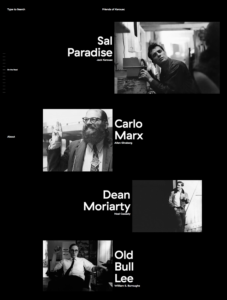 Friends of Kerouac Landing Page Example