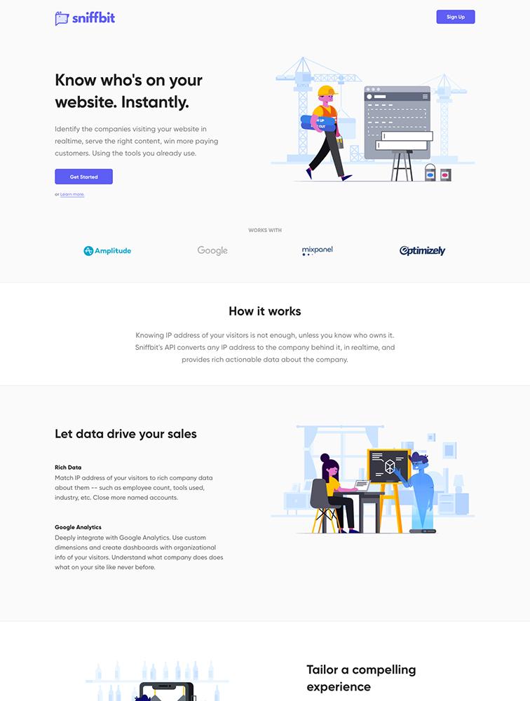 Sniffbit Landing Page Example