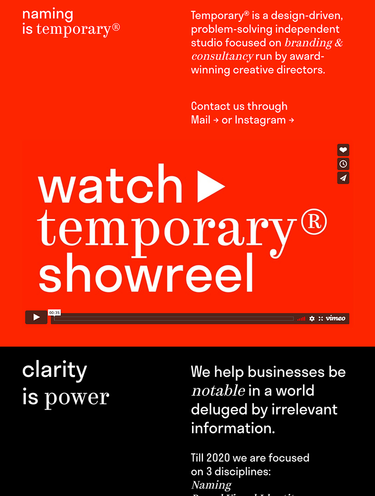 Temporary Studio Landing Page Example
